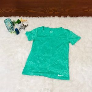 Nike Athletics Active Dri Fit Tee Shirt Top Green